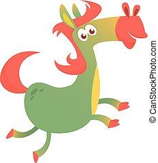 running., cheval, vecteur, dessin animé, illustration