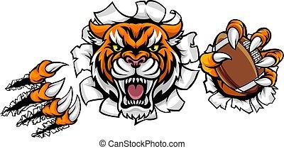 rupture, football américain, fond, tigre, balle