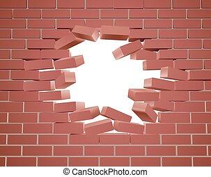rupture, mur, brique