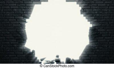 rupture, noir, mur, brique, centre, détaillé