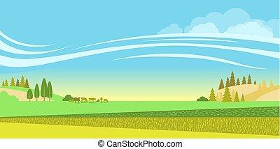 rural, cows., fond, troupeau, champs, paysage, vecteur, nature