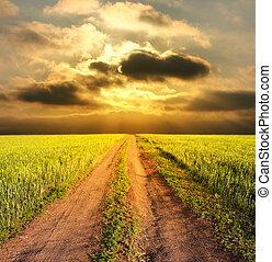 rural, soir, route, paysage
