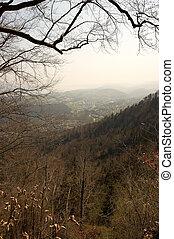 rural, vallée, flanc montagne