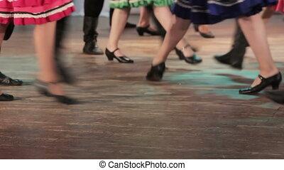 russe, danse, folklorique, étape