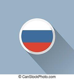 russie, icône, bouton, drapeau