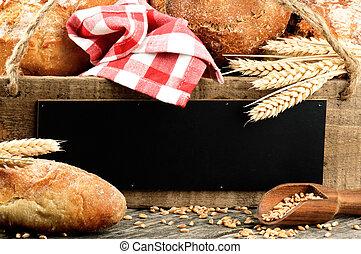 rustique, bois, pain, traditionnel, planche