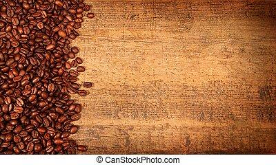 rustique, café, bois, haricots, rôti
