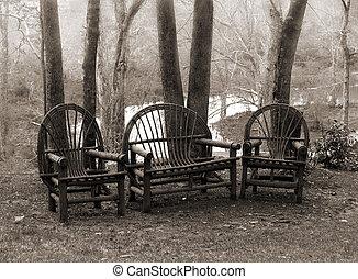 rustique, chaises, pelouse