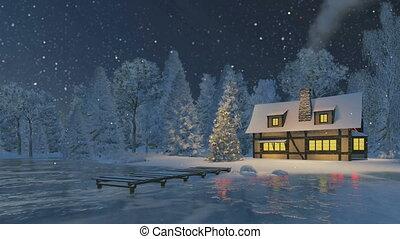 rustique, maison, arbre, noël, nuit