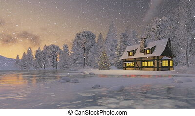 rustique, maison, arbre, noël