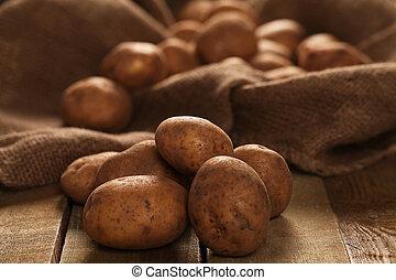 rustique, pommes terre, unpeeled, bureaux