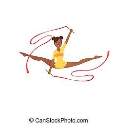rythmique, collant, appareil, sportive, exécuter, deux, jaune, élément, gymnastique, professionnel, rubans, noir