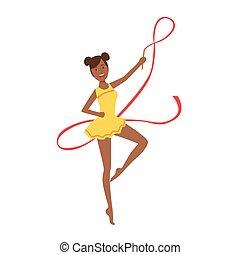 rythmique, collant, appareil, sportive, exécuter, jaune, élément, gymnastique, professionnel, ruban, noir