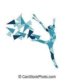 rythmique, femme, polygone, résumé, isolé, illustration, clubs, vecteur, gymnastique, fond, performance, fragments, fait