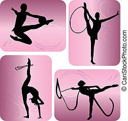 rythmique, silhouettes, gymnastique