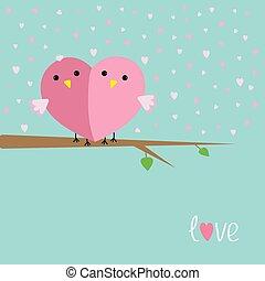 séance, aimez coeur, oiseaux, forme, charrette, deux, moitié, plat, style, conception, arbre