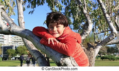 séance, arbre, garçon, heureux, jeune