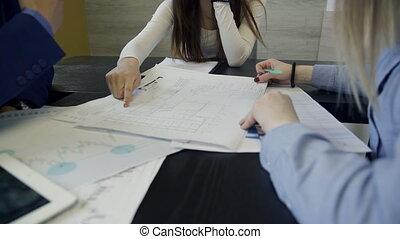 séance, bureau., dessins, collègues, table, discuter