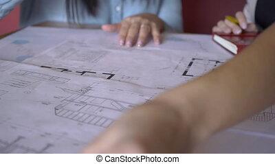 séance, bureau., moderne, deux, regarder, plan, femmes