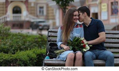 séance, couple, garez banc, séduisant, dater