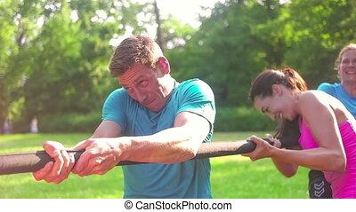 séance entraînement, parc, public