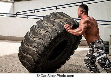 séance entraînement, pneu