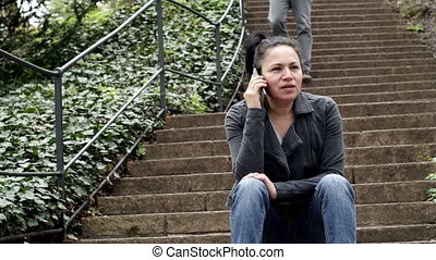 séance femme, bas, téléphone, extérieur, promenades, escalier, homme