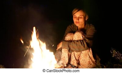 séance femme, brûler, jeune, triste, plage