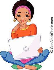 séance femme, ordinateur portable, jeune, coussin, africaine