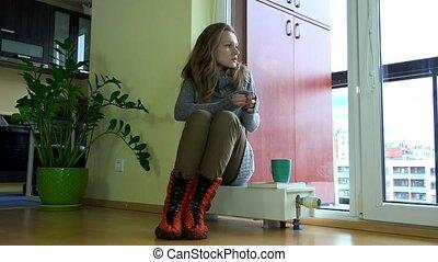 séance femme, surgelé, saison, radiator., inquiété, attente, start., chauffage