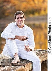 séance, jeune, lac, verre, homme, vin