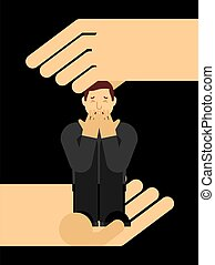 séance, malheureux, aides, solitaire, tension, elle, depression., solitude, soutien, main, étreindre, déprimé, knees., male., concept, homme, type