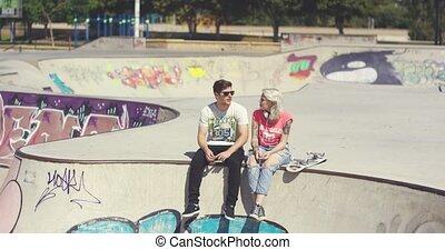 séance, mur, couple, parc, jeune, patin