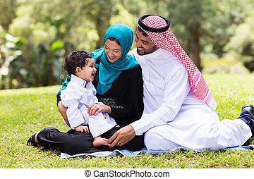 séance, musulman, famille, dehors
