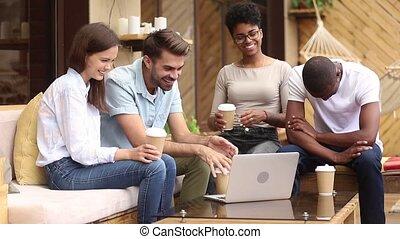 séance, ordinateur portable, divers, terrasse, amusement, café, amis, avoir