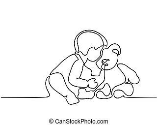séance, ours, petit garçon, teddy