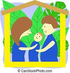 séance, père, fils, dessin animé, famille, card., mère, maison, roof., salutation, sous, bois, jour, métaphore