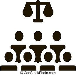 séance, palais justice, jugement, illustration, vecteur, icône