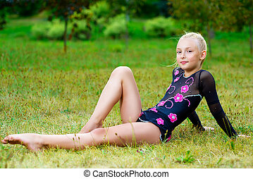 séance, parc, jeune, vert, fitness, girl, herbe
