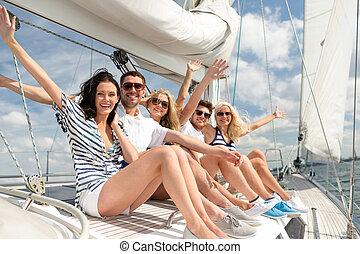 séance, pont, yacht, salutation, sourire, amis
