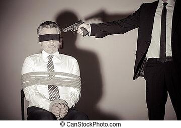 séance, ravisseur, jeune, attaché, quoique, formalwear, fusil, victim., homme affaires, chaise, viser, lui, homme