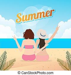 séance, sablonneux, ensemble, deux, style de vie, extérieur, femmes, voyage, été, plage, jeune