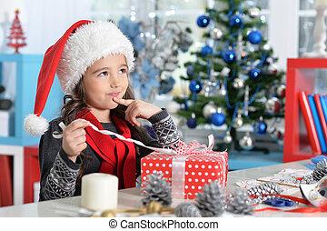 séance, santa, girl, chapeau, présent noël, heureux