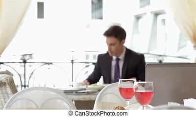 séance, tablette, restaurant