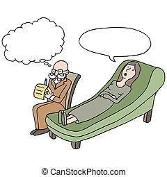 séance, thérapie, femme