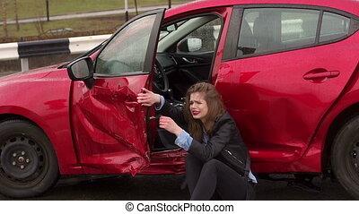 séance, voiture, elle, girl, était, gros plan, cassé, terrestre, accident
