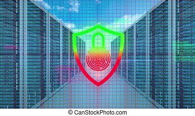 sécurité, cadenas, serveurs, numérique, contre