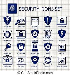 sécurité, cahier, page, icônes