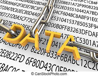 sécurité, concept, données, 3d