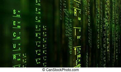 sécurité, concept, données, style, matrice